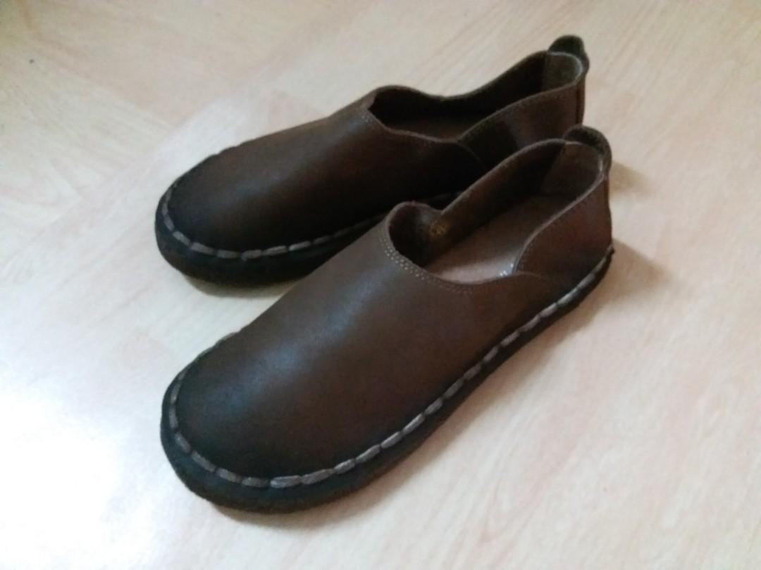顯瘦30蚊 女神鞋 文青皮革鞋💏💓情侶款💬啡色 復古版
