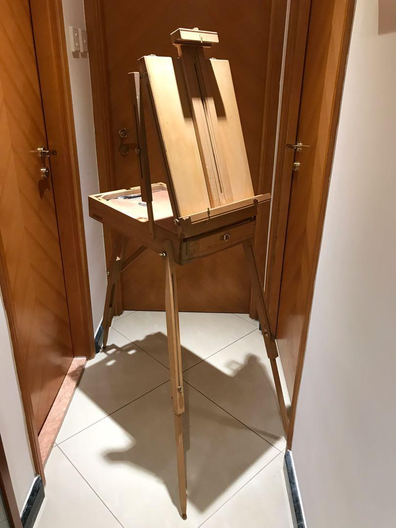 90% New - Wooden Easel & Sketchbox with Wooden Pallete & Shoulder Strap 實木油畫架 附肩帶可座枱便攜 附木色板 街頭寫生/家用