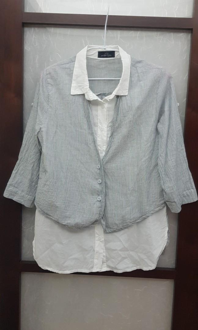 二手假二件七分袖條紋長版襯衫(女裝)