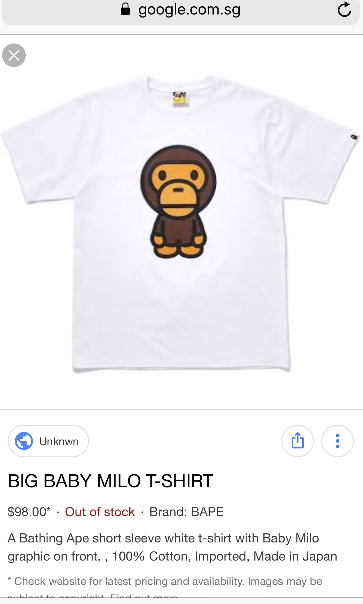 24c83d6a7 Bathing Ape Baby Milo Tee., Men's Fashion, Clothes, Tops on Carousell