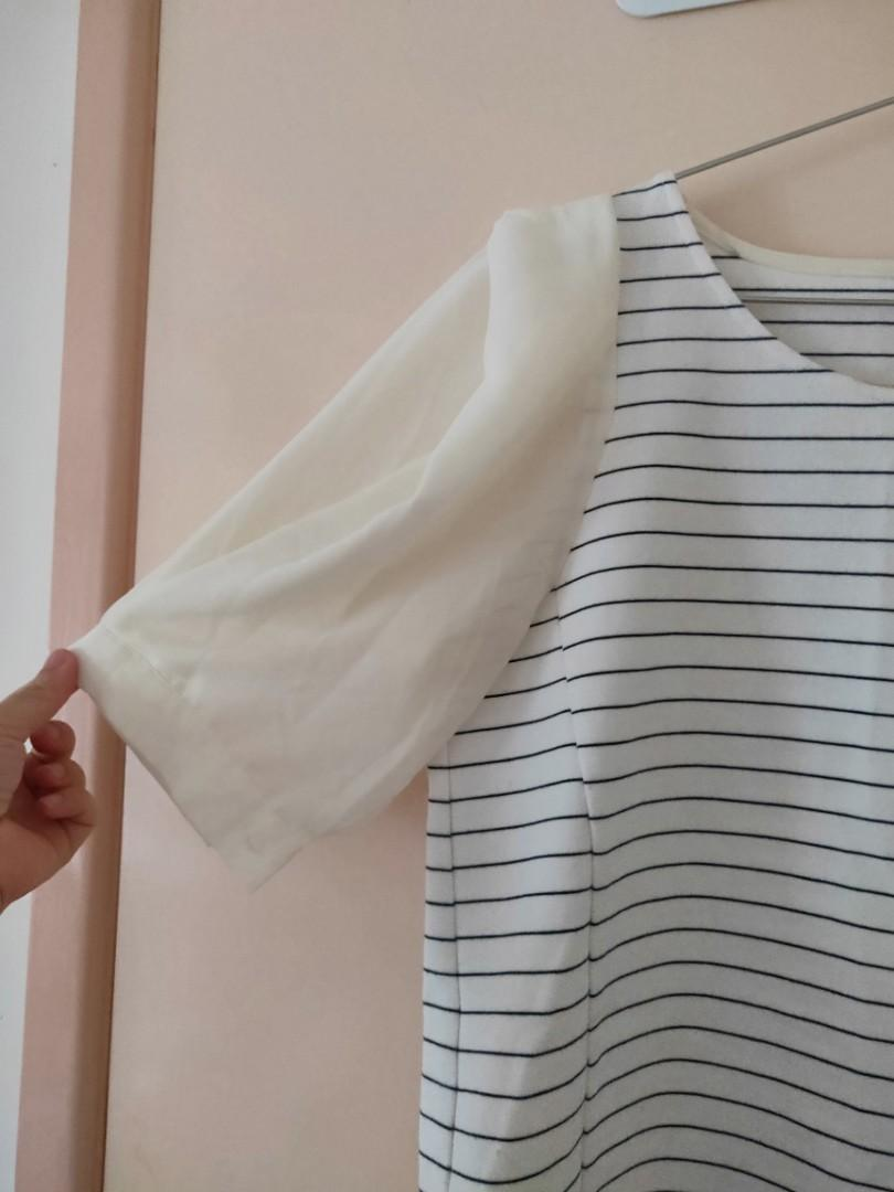 black and white cross striped with lovely sleeves
