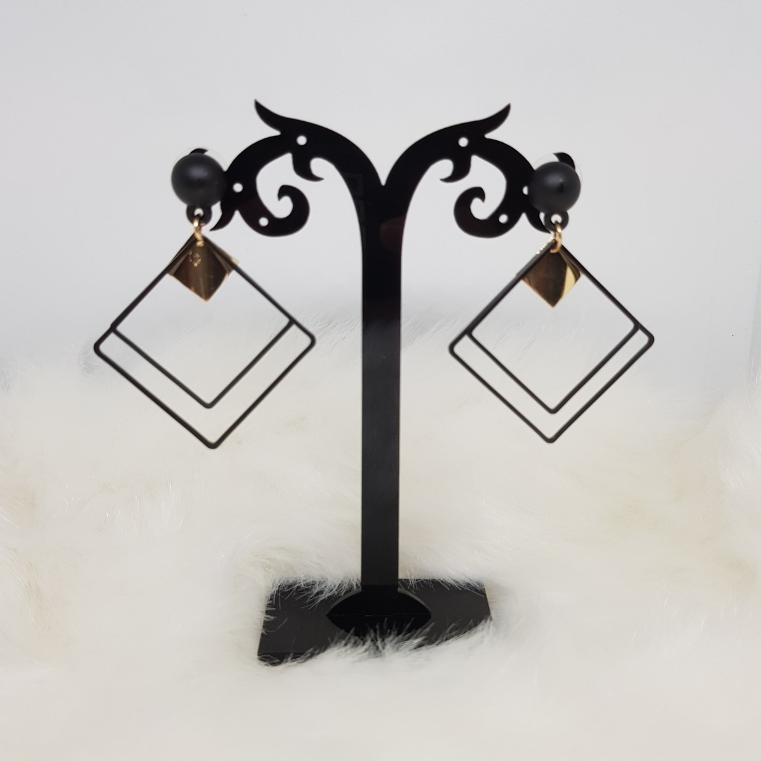 Black Square Earrings with Rubber Stud