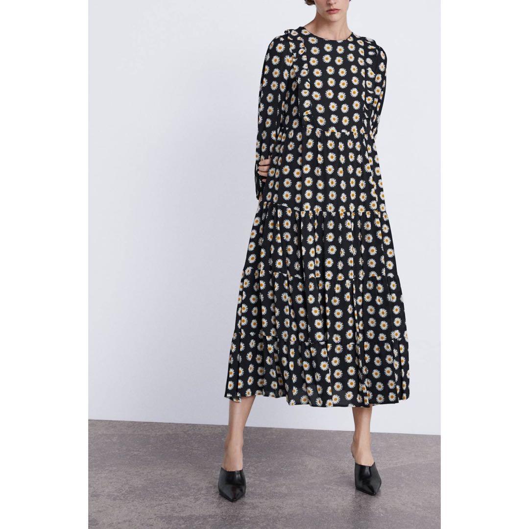 e560a0df39c7 BN) 💯 Authentic Zara Ruffled Long Sleeves Floral Daisy Printed Midi ...