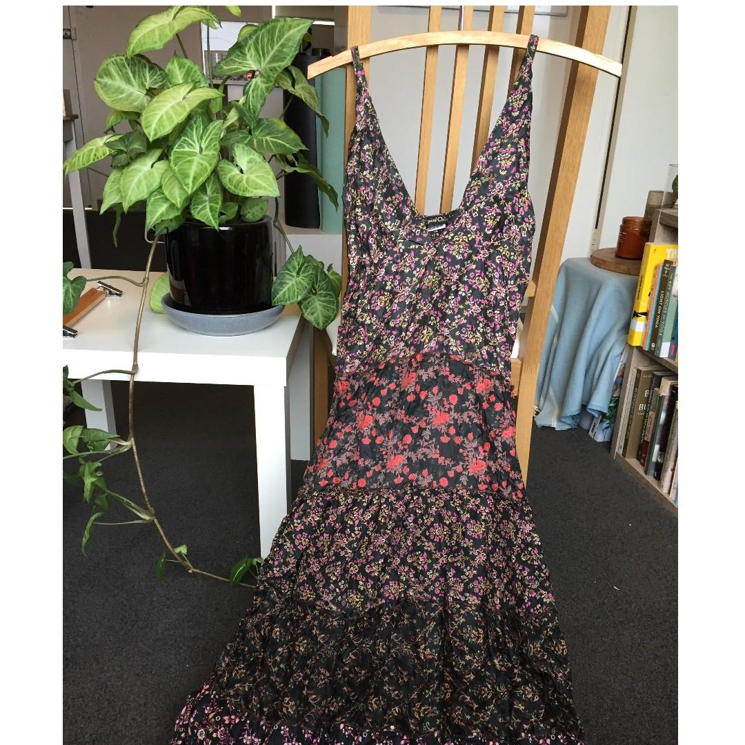 Bohemian Women's Floral Recycled Pure Silk Maxi Dress - Size 8-10