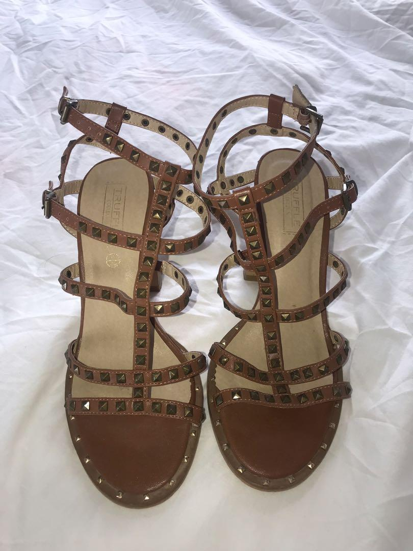 Brown / tan studded strappy sandals with block heel
