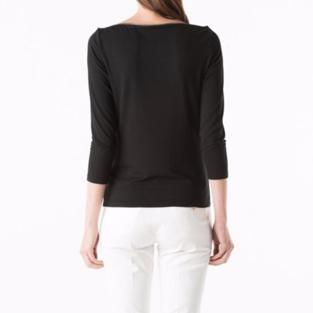 Carine Roitfeld Paris for Uniqlo Black Boatneck Top with zipper detail