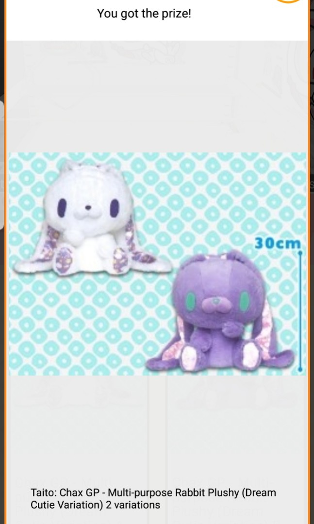Taito Gloomy Bear Dreamy Cutie Chax Gp All Purpose Rabbit Bunny Purple Plush F//S
