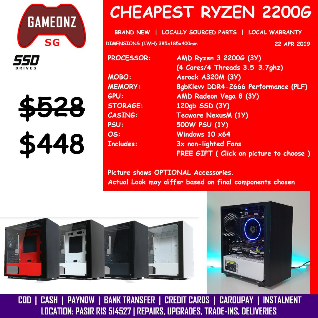 CHEAPEST AMD RYZEN 3 2200G GAMING PC TECWARE NEXUS M RADEON VEGA 8 8gb ram  120gb SSD