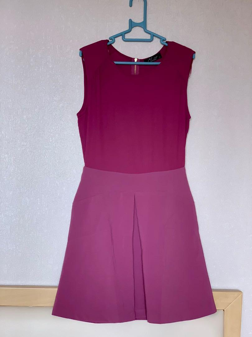 Closet London 斯文裙 桃紅色 傘擺 微透 Fuchia Smart Casual Dress