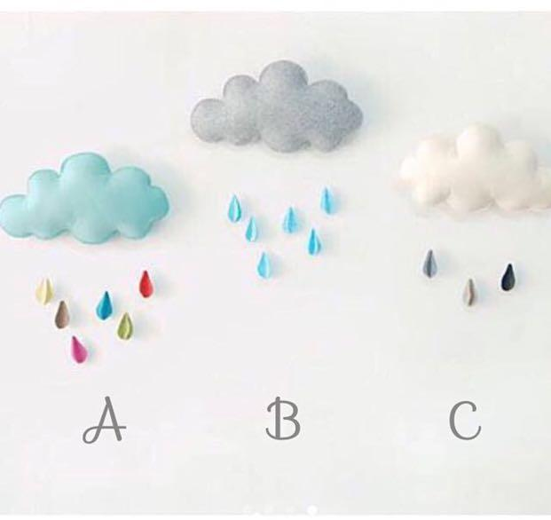 1127ae735ff79 CLOUD & RAINDROPS MOBILE HANGER OR DECO FOR BABY'S NURSERY, KiD'S ...