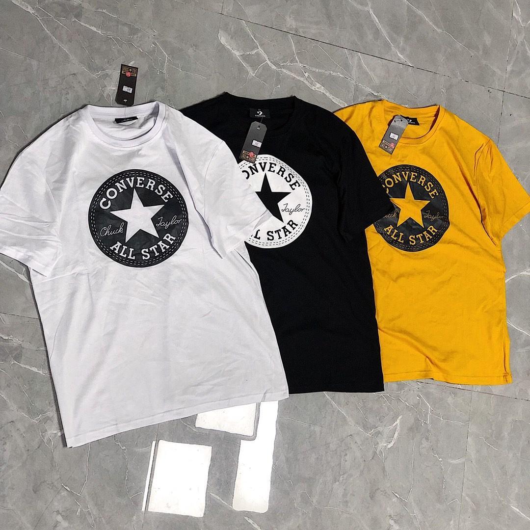 Converse T恤 黑 白 姜黄 男女同款