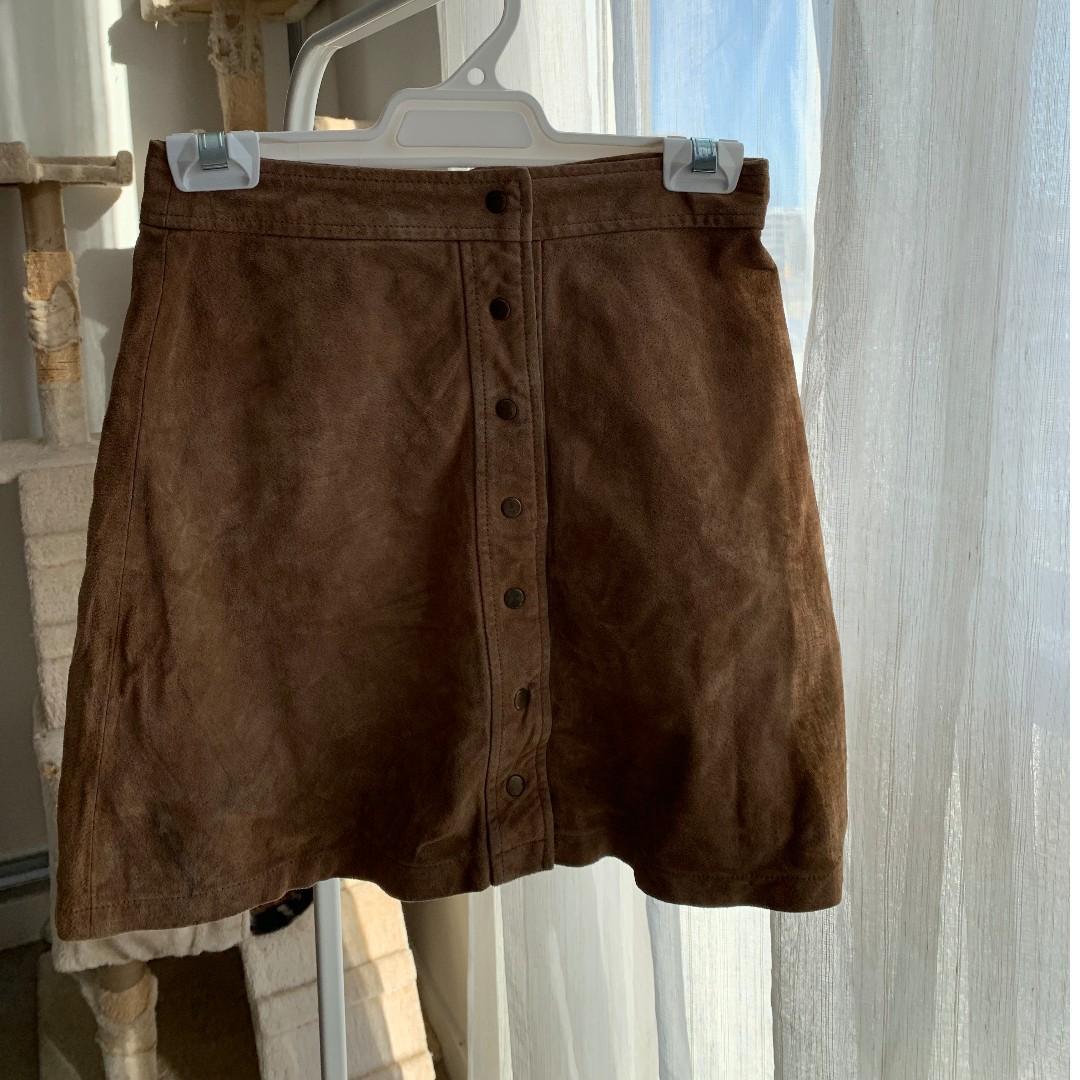 Earthy colour- High waist- A shape leather skirt- Zara woman
