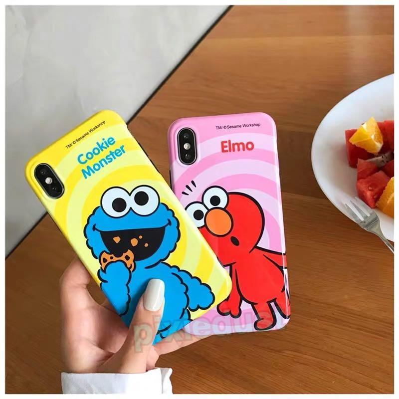 elmo and cookie monster couple phone casing