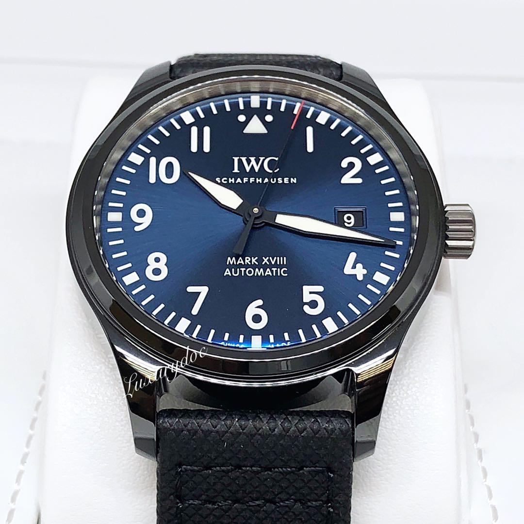 "FS.BNIB IWC MARK XVII LIMITED EDITION ""LAUREUS SPORT FOR GOOD FOUNDATION"" CERAMIC BLUE DIAL AUTOMATIC 41MM PILOT WATCH IW324703"