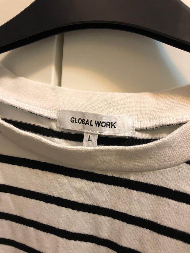 Global work tee 黑白直間上衣