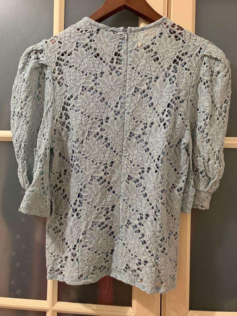 韓國品牌藍色蕾絲半袖上衣M號#半價衣服拍賣會