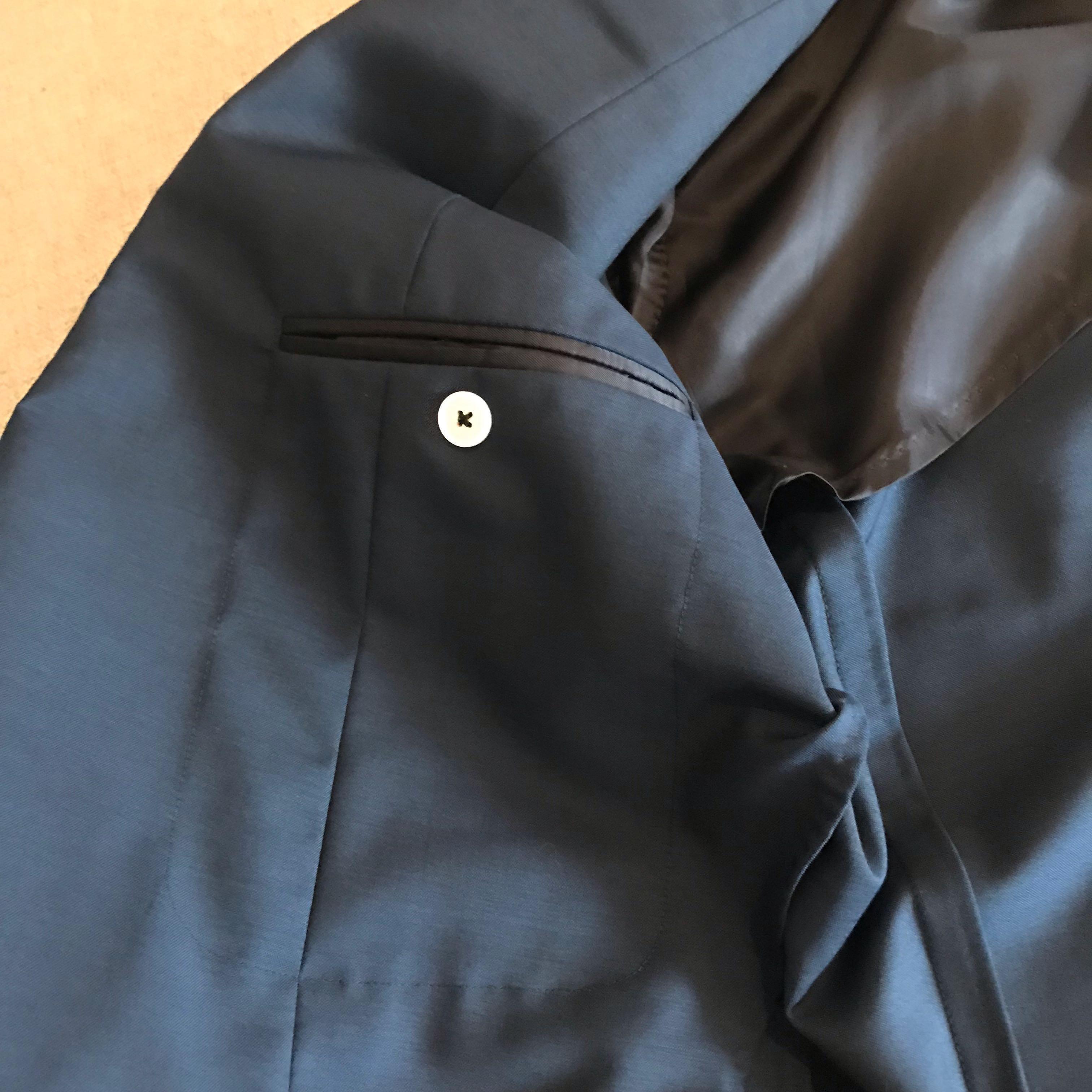 Men's tailored navy suit jacket - size 50