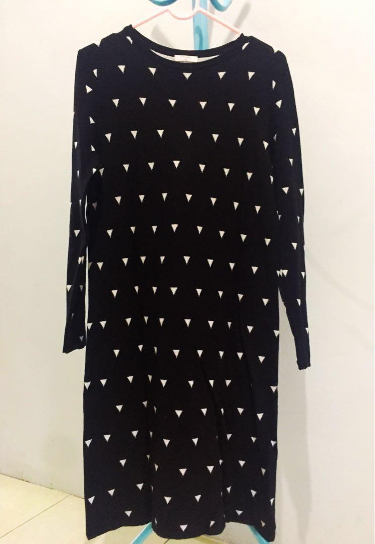 Mididress knit black&white