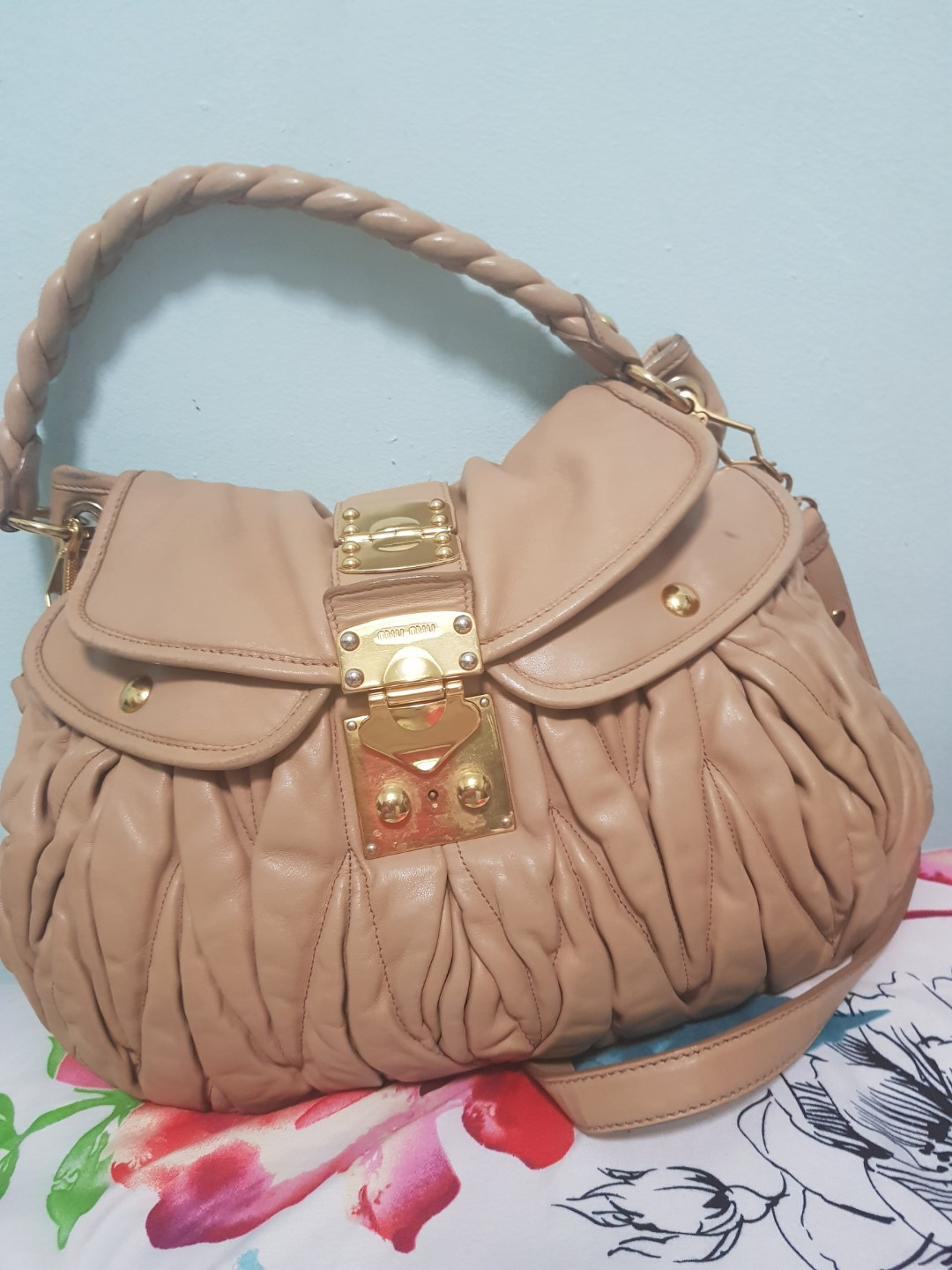 7f550e6b905b MIU MIUBeige Matelasse Nappa Leather Coffer Hobo Bag