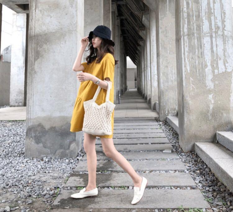 Mustard Short Sleeve Babydoll Dress
