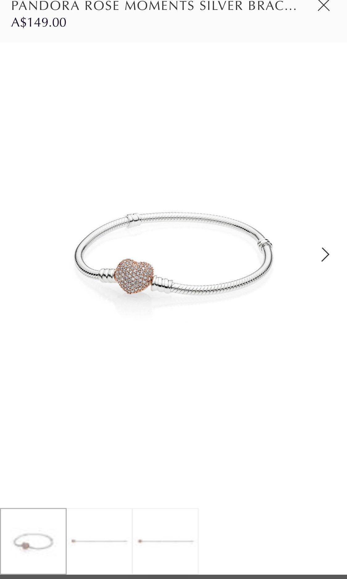 PANDORA ROSE MOMENTS SILVER BRACELET WITH PANDORA ROSE PAVÉ HEART CLASP