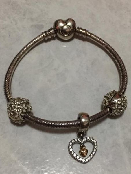 6166b3a3b Pandora Silver Bracelet with Heart Clasp, Women's Fashion, Jewellery ...