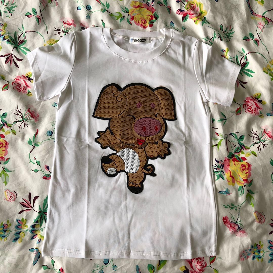 low price sale top quality elegant and sturdy package Pig Sequin T-Shirt (Ladies) (White)