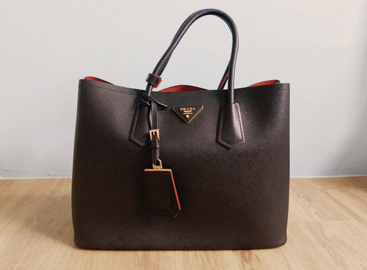 51bbc2a1c233 Prada Saffiano Cuir Tote Black (Large), Women's Fashion, Bags ...
