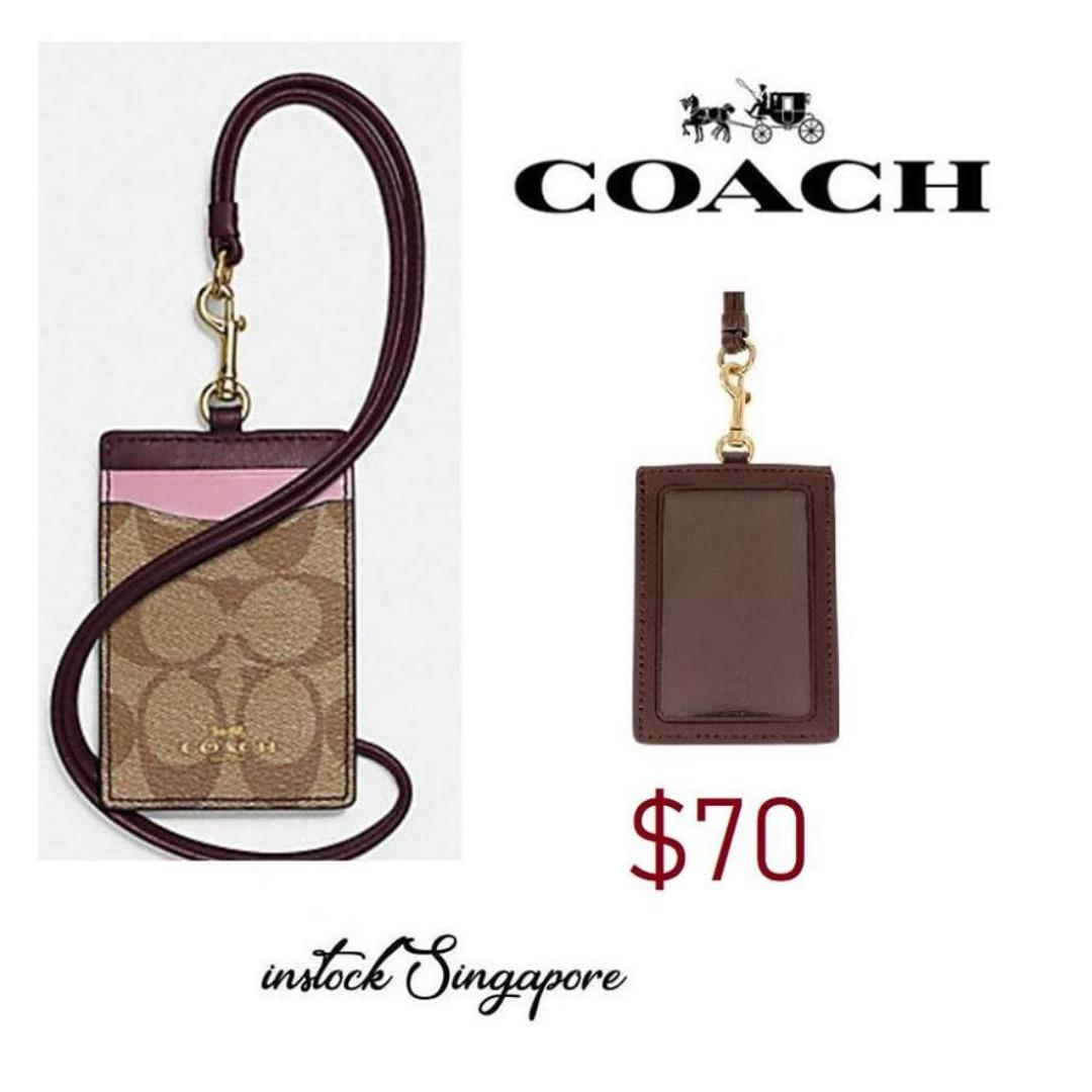 READY STOCK -AUTHENTIC - NEW Coach  COACH F57964 LANYARD ID CASE IN COLORBLOCK SIGNATURE printed coated canvas