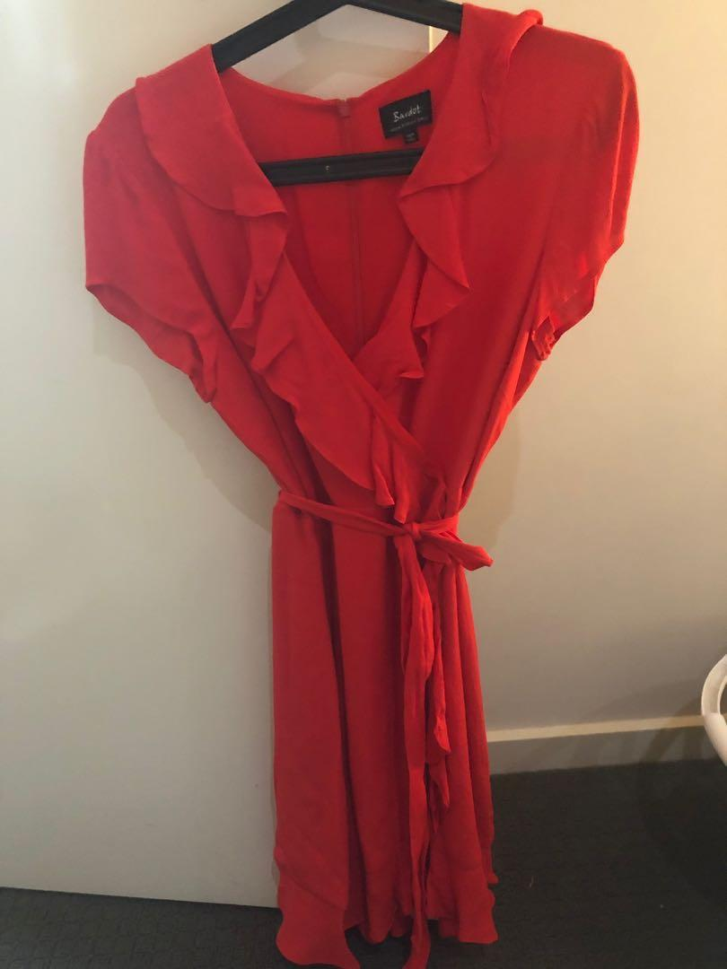 Red frill wrap dress