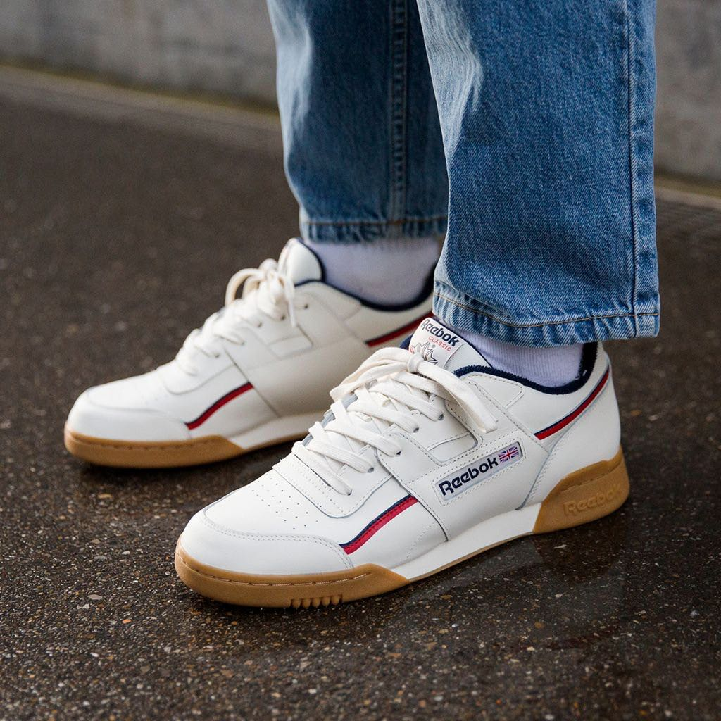 814da2f4cec0d Reebok Workout Plus MU Classic Beige White   Red