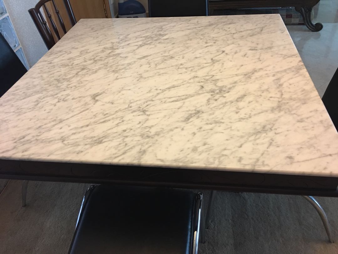 Reprice Square Marble Table With Hand Crafted Leg Furniture Tables Chairs On Carousell