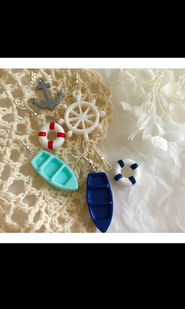 Sailor Navy Lifebuoy Ship Anchor Earring