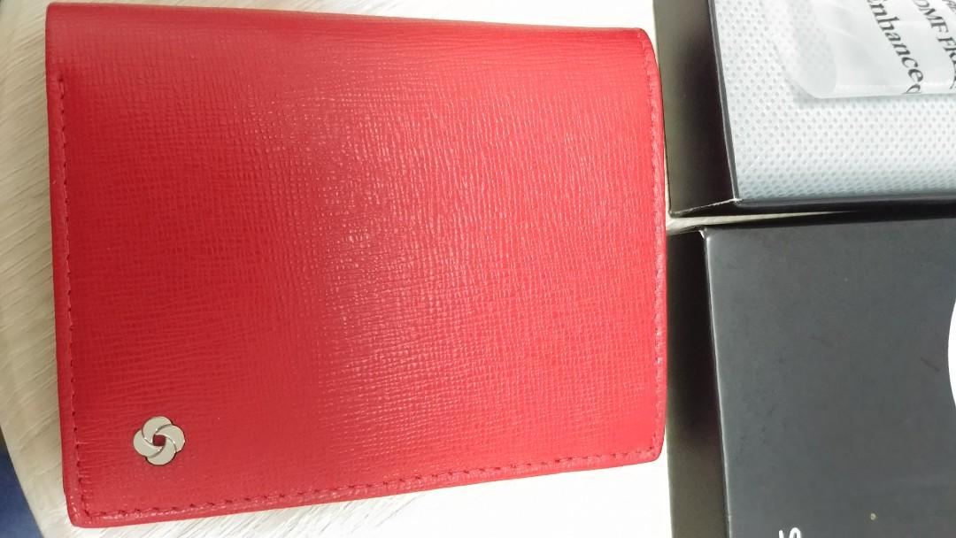 Samsonite 皮card holder(紅色)