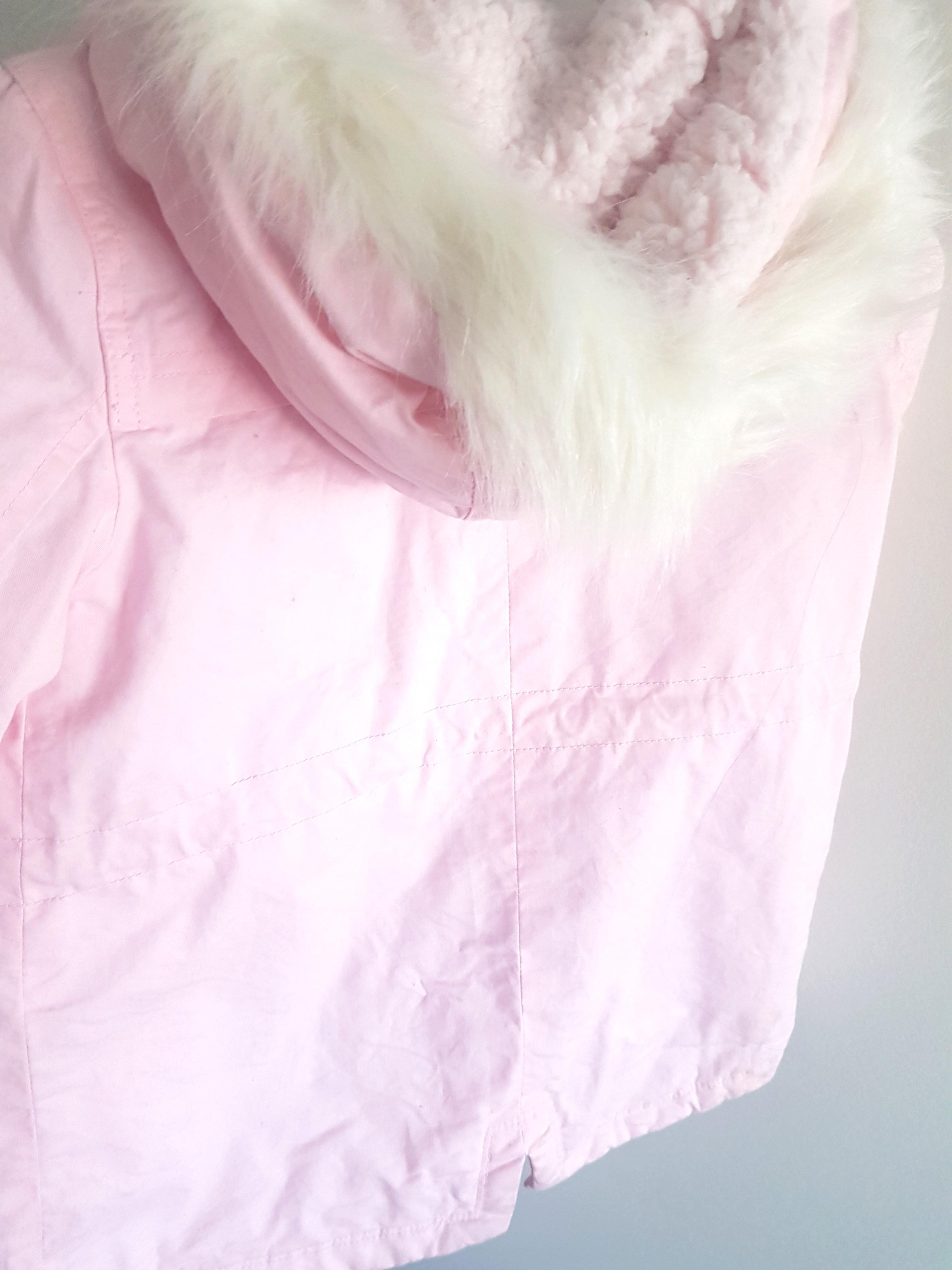 Size 4 Light Pink Girls Jacket Wool inside with hoodie and bunny pockets
