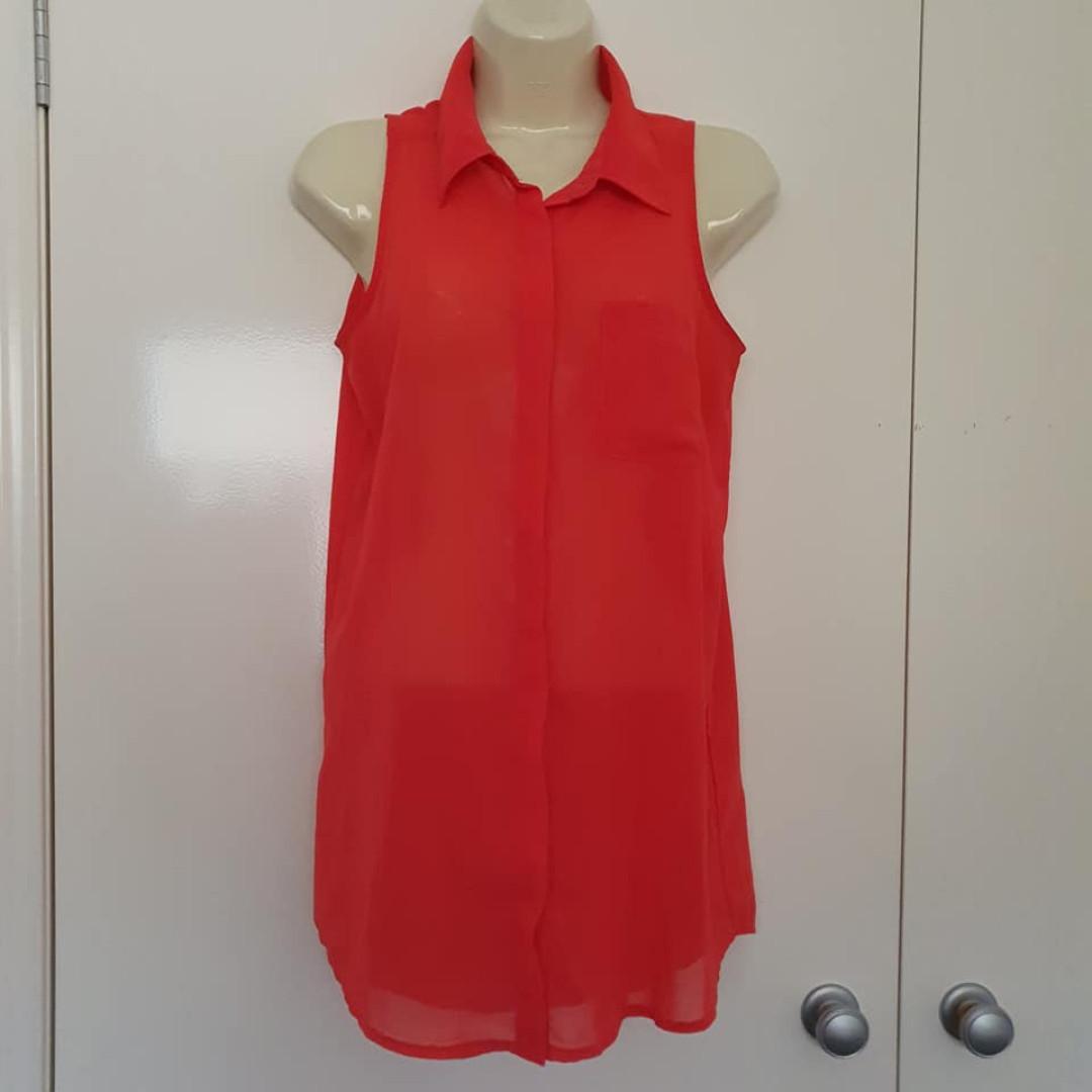 Size 8 Euc Valleygirl sleeveless button blouse tunic salmon