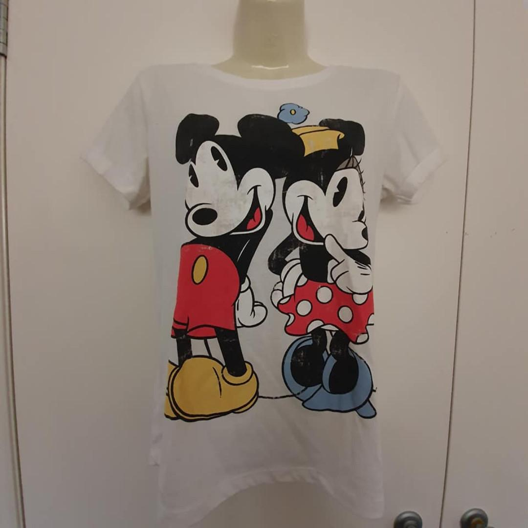 Size S fits about 8 10 Vgc Valleygirl Disney Minnie Mickey Mouse print tshirt