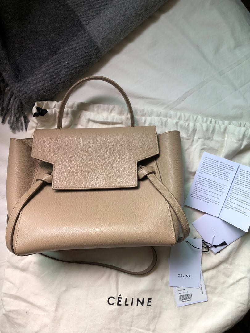 Used Celine Micro Belt Bag Grained Calfskin Light Taupe Women S Fashion Bags Wallets Handbags On Carousell