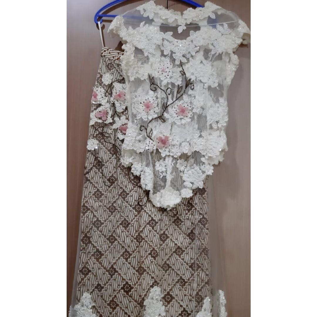 white and batik skirt gown