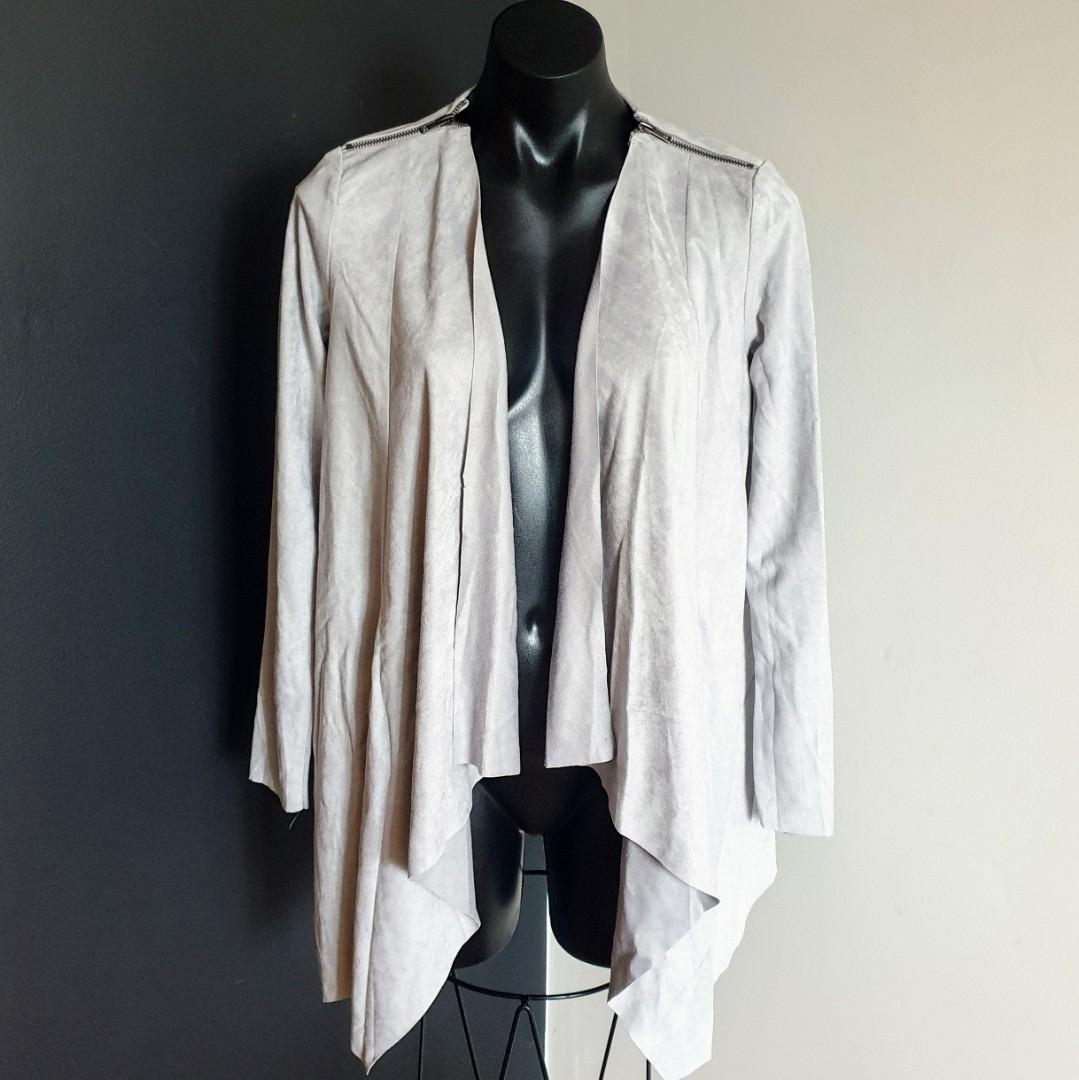 Women's size 10 'BLOSSOM' Stunning grey suade look waterfall jacket - AS NEW