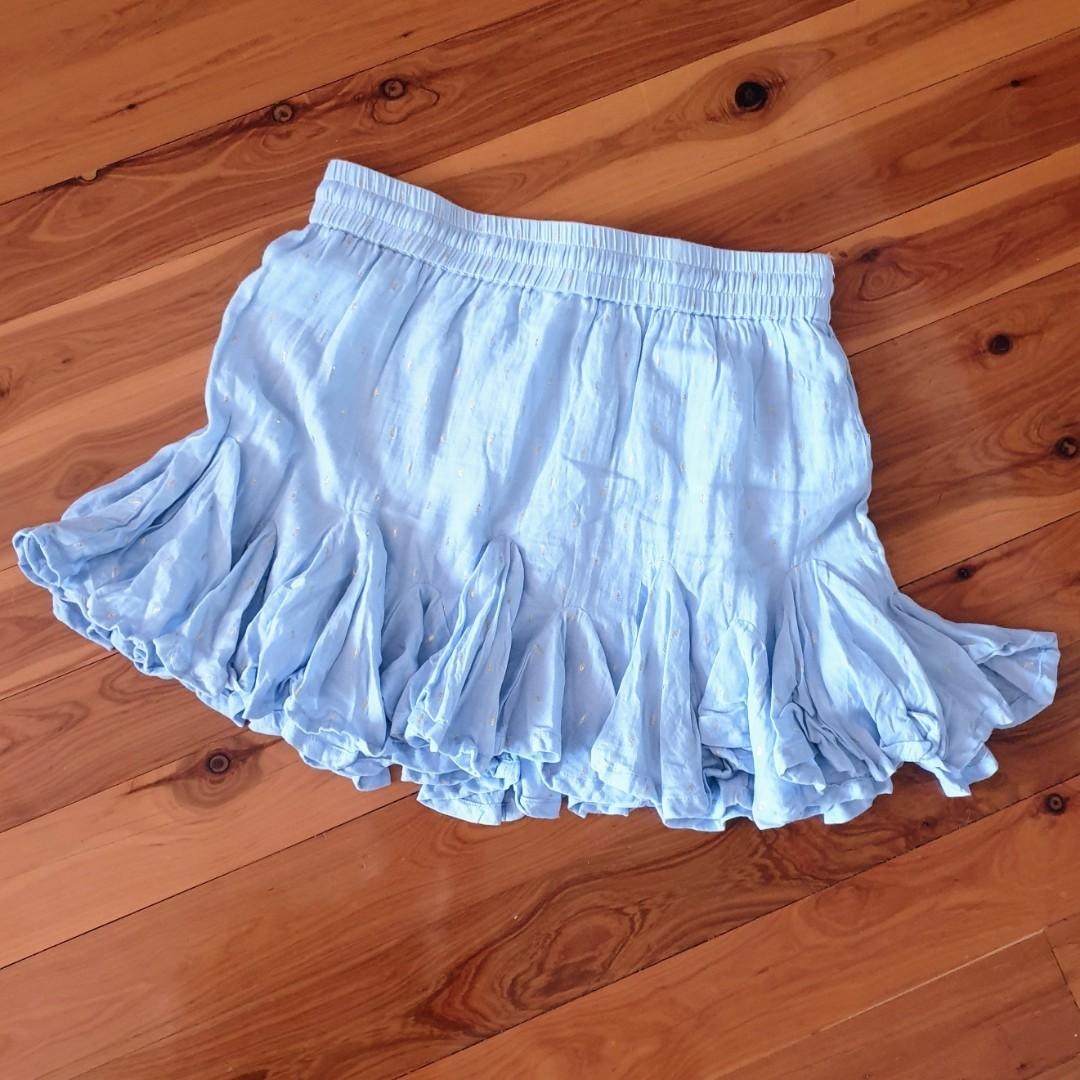 Women's size 10 'SEED HERITAGE' Stunning baby blue fit and flare skirt with gold accents and tassels- AS NEW