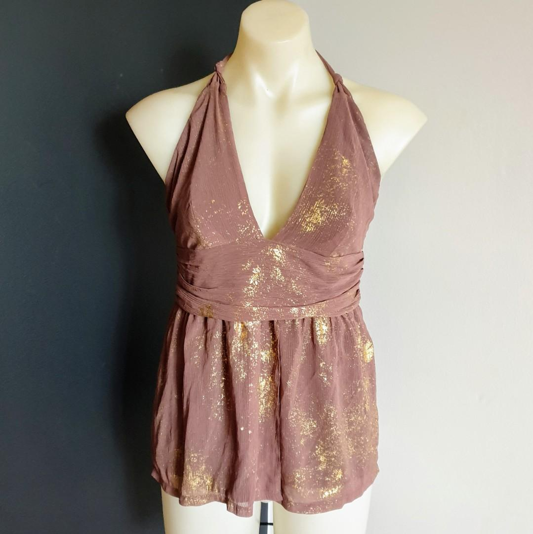 Women's size 10 'SHEIKE' Gorgeous brown with gold criss cross back top - AS NEW