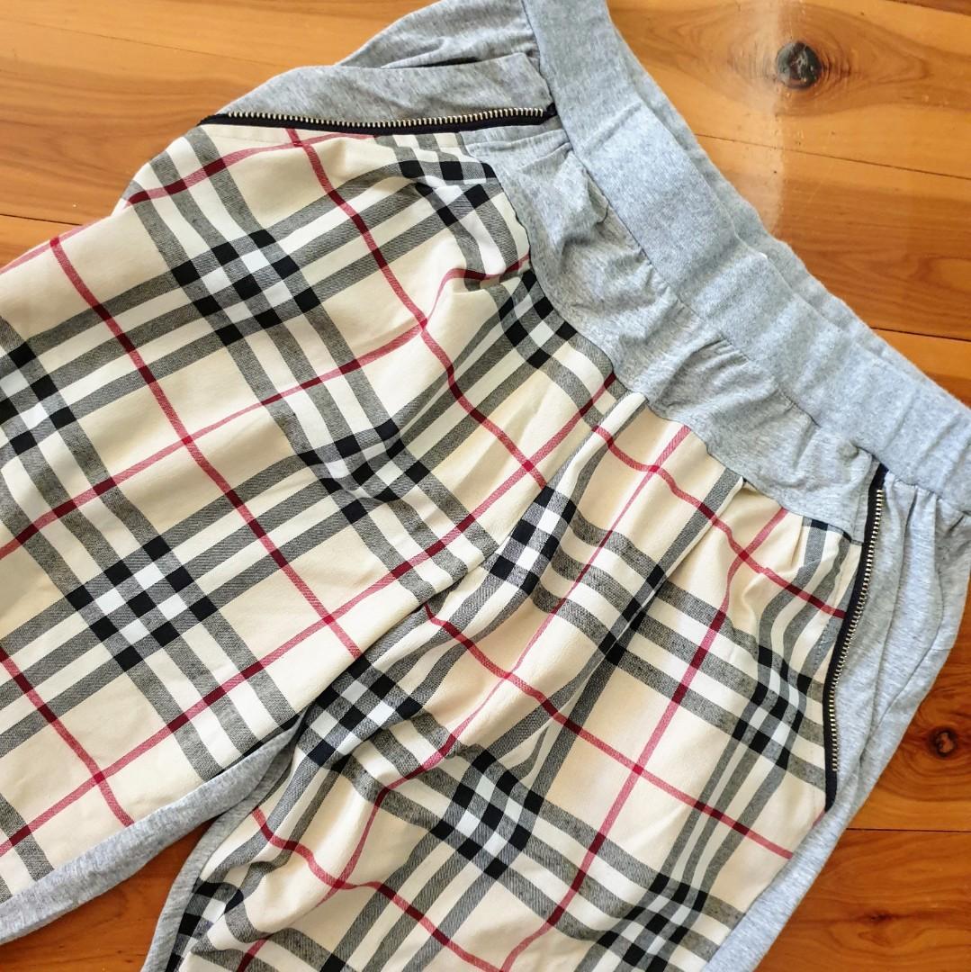 Women's size L Gorgeous casual tartan plaid print 3/4 capri pants - AS NEW