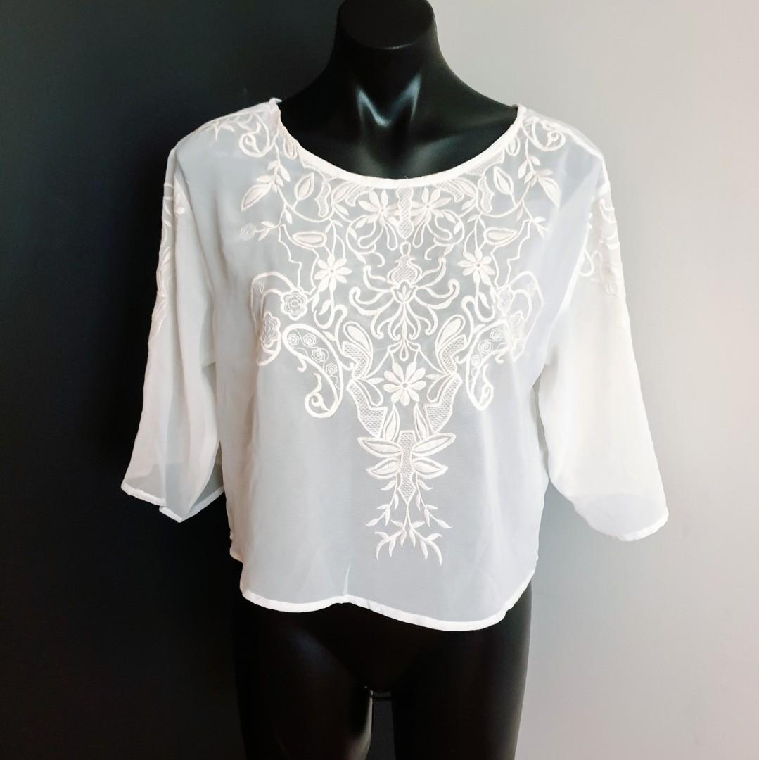 Women's size M Stunning beige sheer top with embroidery on front and sleeves  - AS NEW