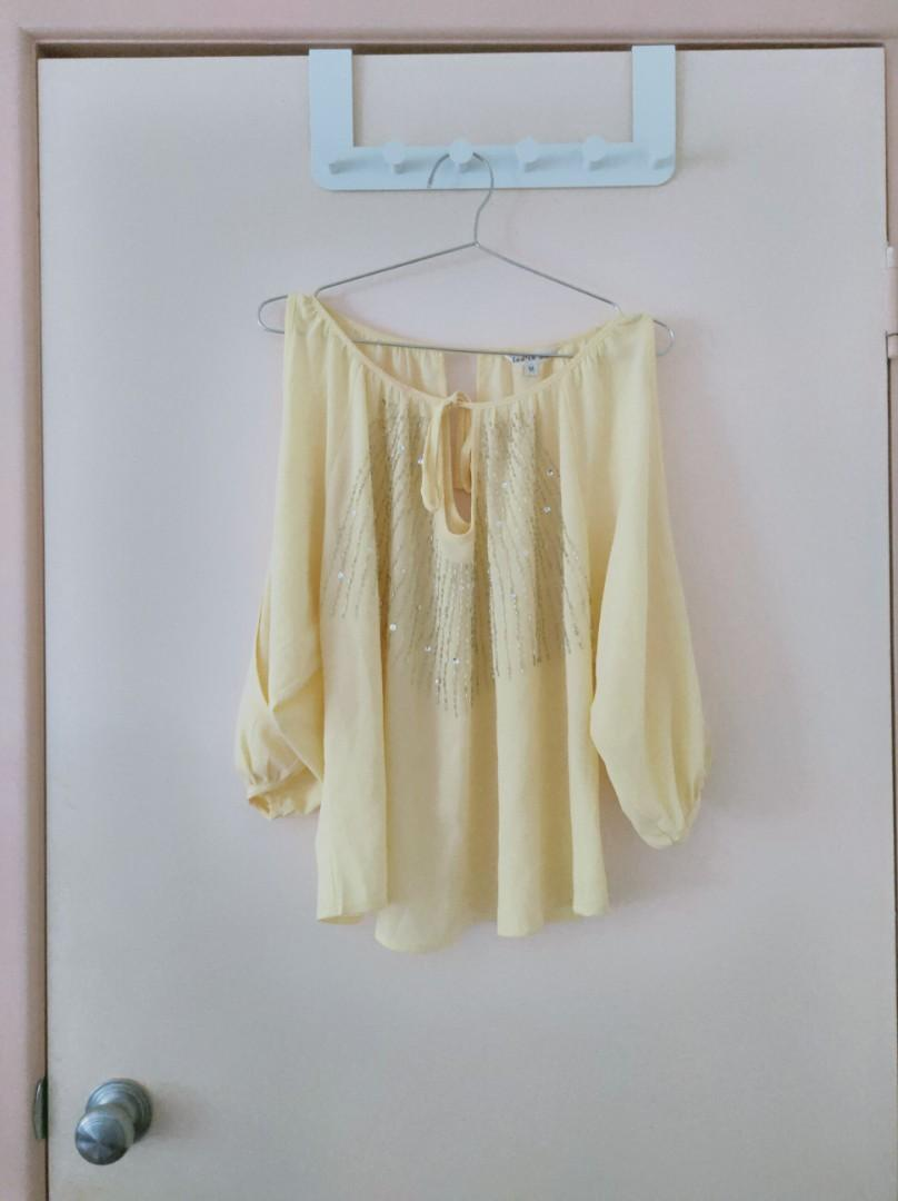 yellow top with sequin