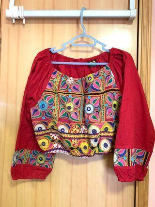 民族風刺繡古布上衣