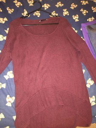Maroon winter cable knit sweater jumper