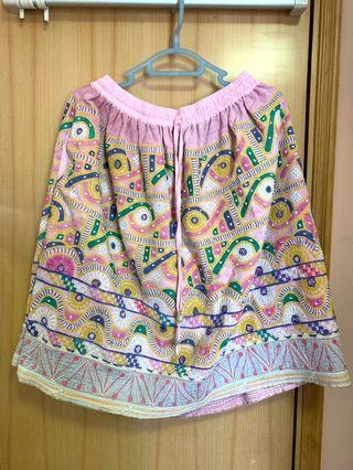 民族風刺繡古布半截裙