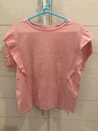 Zara pink ruffle top