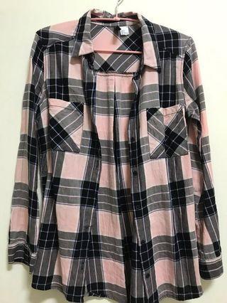 H&m粉灰藍色系格紋襯衫 #半價衣服拍賣會